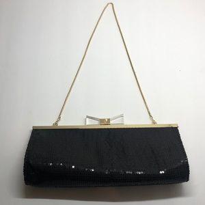 Anne Klein evening bag/clutch black sequins